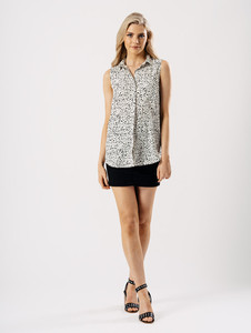 Black And White Dalmatian Print Sleeveless Shirt