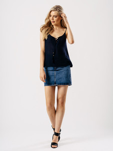 Navy Cheesecloth Cami Top With Tassel Ties