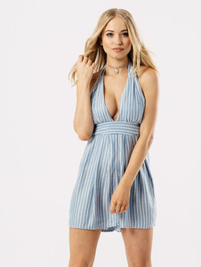 Blue Pinstripe Halter Neck Playsuit