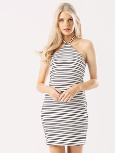 Black And White Stripe Halter Neck Jersey Dress