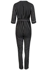 Black And White Stripe Wrap Jumpsuit
