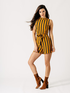 Mustard Stripe High Neck Belted Playsuit