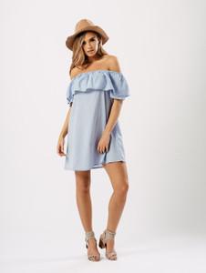 Light Blue Shirting Cotton Bardot Tier Dress
