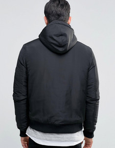 Padded Borg Lining Hooded Bomber Jacket