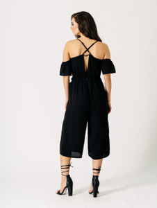 Black Cold Shoulder Frill Detail Three Quarter Length Cropped Jumpsuit