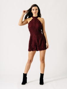 Burgundy Red Choker Neck Scallop Trim Floral Lace Playsuit