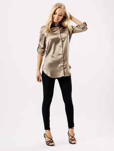 Taupe Satin Embroidered Back Slogan Shirt