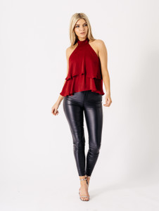 Wine Choker Neck Ruffle Top