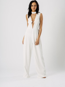 Wide Leg Choker Plunge Neck Ring Jumpsuit in White