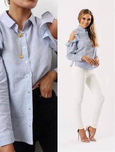 Blue Stripe Cold Shoulder Frill Shirt