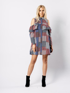 Multi Ruffle Cold Shoulder Dress