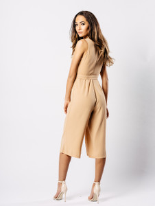 Nude Buckle Wrap Cropped Jumpsuit