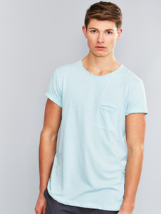 Light Blue Raw Edge Slub Pocket T-Shirt