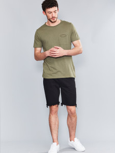 Khaki Raw Edge Slub Pocket T-Shirt