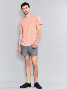 Pink Raw Edge Slub Pocket T-Shirt