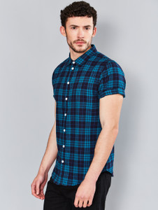 Teal Short Sleeve Check Shirt