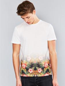 White Hawiian Ombre Print T-Shirt