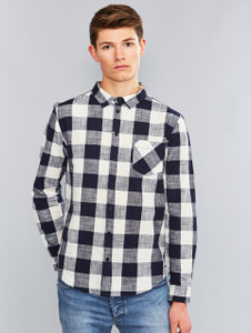 Navy Check Print Long Sleeve Shirt