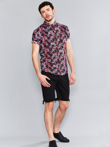 Pink Palm Print Short Sleeve Shirt