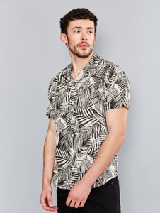 Black Palm Print Cuban Collar Shirt