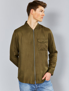 Khaki Zip Through Bomber Shirt Jacket
