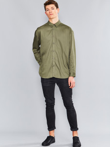 Khaki Oversized Long Sleeve Shirt