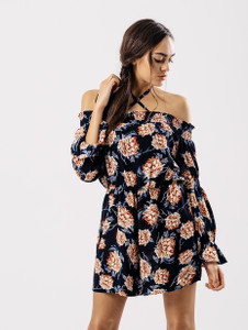 Navy Floral Shirred Detail Cross Neck Playsuit