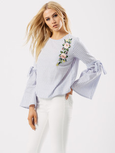 Blue Stripe Bell Sleeve Embroidered Top