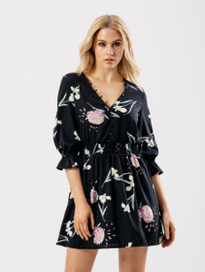 Black Floral Button Detail V Neck Dress