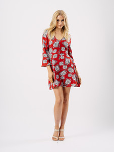 Red Floral Button Detail V Neck Dress