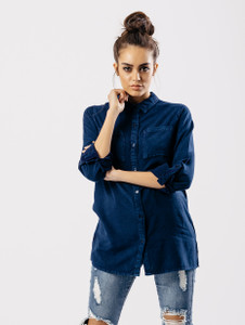 Blue Denim Style Shirt With Pocket Detail