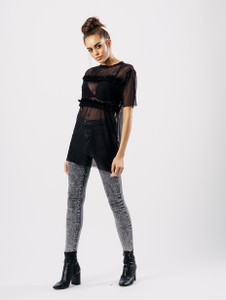 Black Mesh Ruffle T Shirt