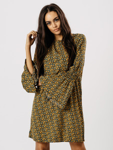 Mustard Ditsy Floral Bell Sleeve Dress