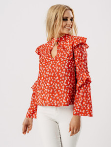 Red Floral Print Frill Top