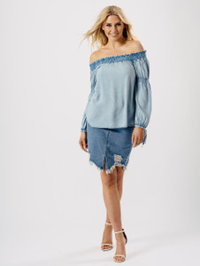 Blue Off The Shoulder Tie Fasten Sleeve Top