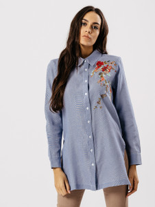 Blue Floral Embroidered Side Slit Shirt