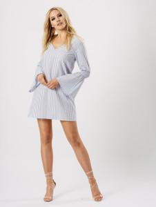 Blue Stripe Flute Sleeve Dress