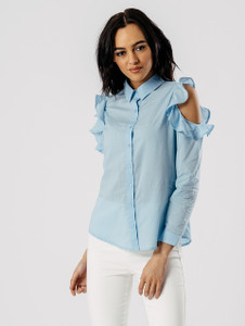 Sky Blue Cold Shoulder Frill Shirt