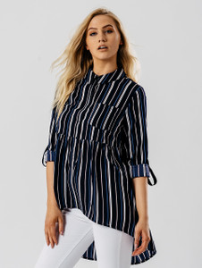 Blue Stripe Print Dip Hem Shirt
