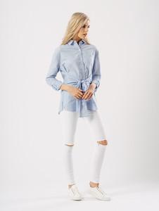 Blue Stripe Tie Front Shirt