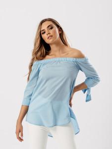 Blue Side Slit Tie Sleeve Bardot Top