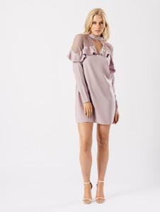 Mauve Lace and Ruffle Choker Neck Dress