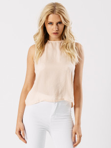 Nude Halter Neck Open Back Top