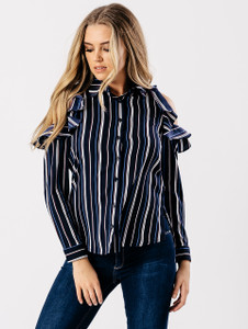 Blue Stripe  Cold Shoulder Frill Shirt