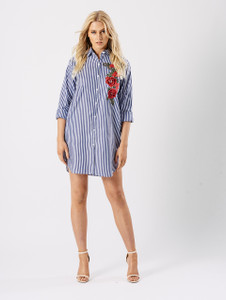 Blue Embroidered Oversized Shirt