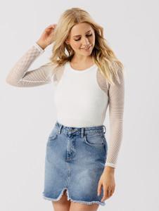 Cream Mesh Net Bodysuit
