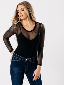 Black Mesh Net Bodysuit