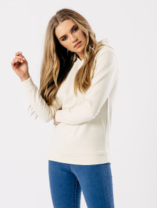 Basic Long Sleeve Hoodie in Cream