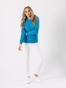 Blue Basic Long Sleeve Hoodie