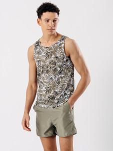 Green Palm Print Scoop Neck Vest